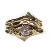 Double dolphin ring wedding set,1/4ct center diamond