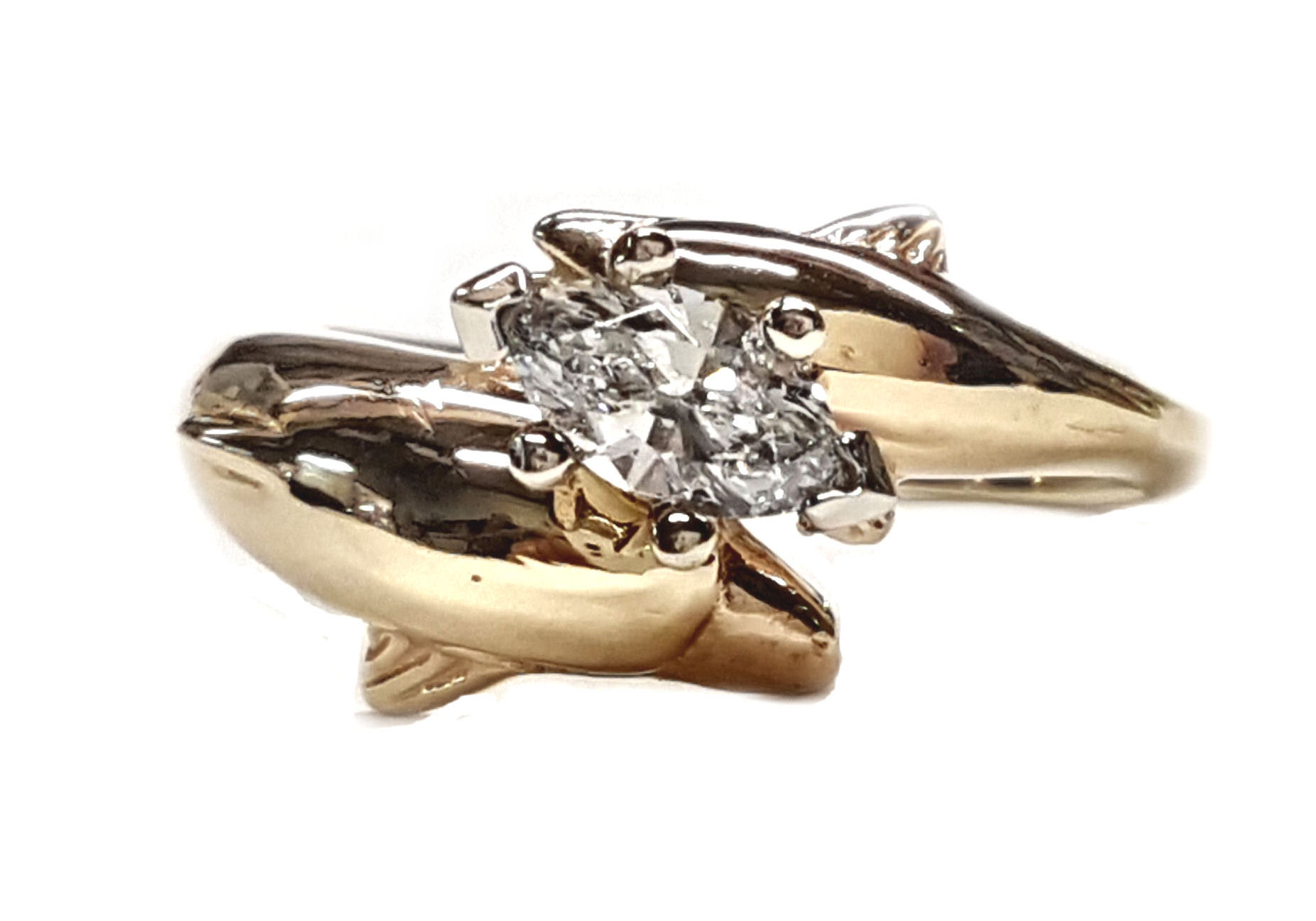 Double Dolphin Marquise Engagement Ring