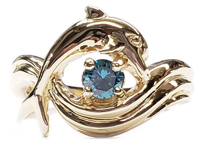 Blue Diamond Dolphin Engagement Ring