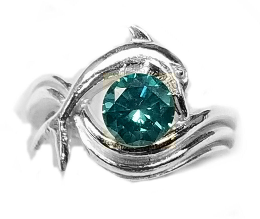 """1 1/2ct. Diamond Dolphin Engagement Ring, """"Independence Day"""" style setting"""