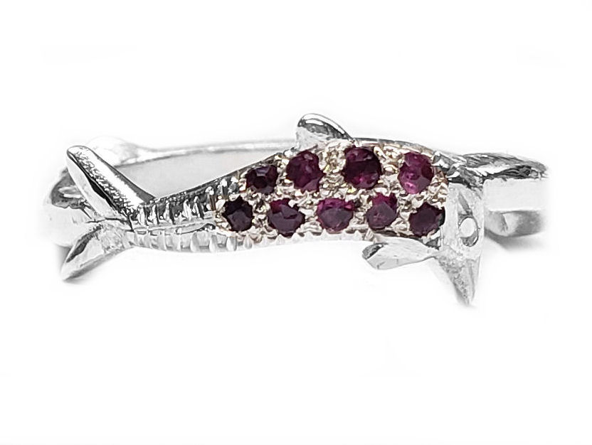 Dolphin Band in Sterling Set withRubies
