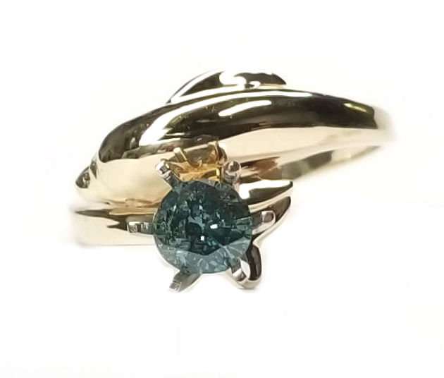 Single Dolphin Ring with Blue Diamond